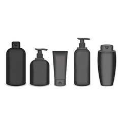 realistic cosmetic bottle mock up set isolated vector image