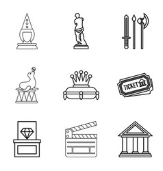 Reconstruction icons set outline style vector