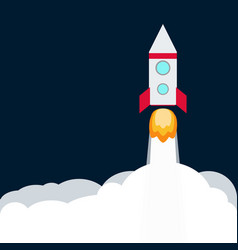 rocket spaceship take off with fire colored vector image