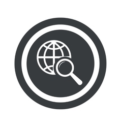 Round black global search sign vector