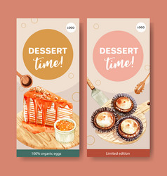 Salted egg flyer design with crepe cake cupcake vector