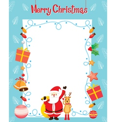 Santa And Reindeer And Objects On Border vector image