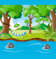 scene with swing by the river vector image