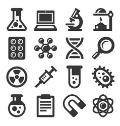 science icons set on white background vector image