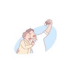 selfie fatherhood fathersday concept vector image