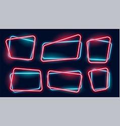 set empty glowing neon frames banner vector image