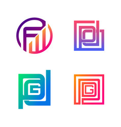 set initial fw pd pdg symbol for business logo vector image