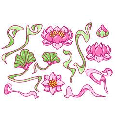 set lotus flowers art nouveau vintage style vector image