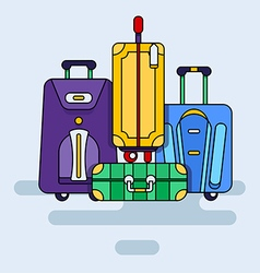 Set of bags with wheels vector image