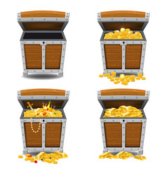 Set old pirate chests full of treasures gold bars vector