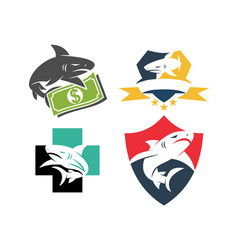 Shark money shield health logo design set template vector