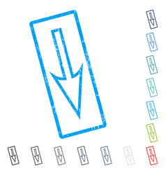 Sharp arrow down icon rubber watermark vector