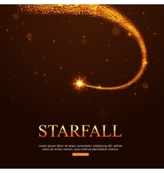 Shining falling golden star in the night sky vector image