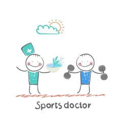 Sports doctor gives a healthy meal to the person vector image