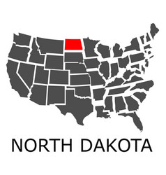 state of north dakota on map of usa vector image
