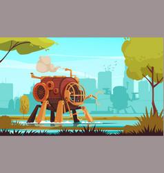 steampunk machine vector image