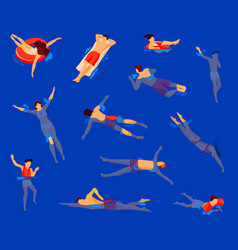 swim activity or water swimming swimmers set vector image