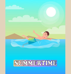 swimming sport activity man swims in blue sea vector image
