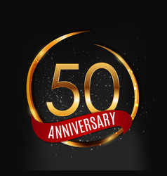 Template gold logo 50 years anniversary with red vector