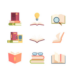 textbook set knowledge stack books folded vector image