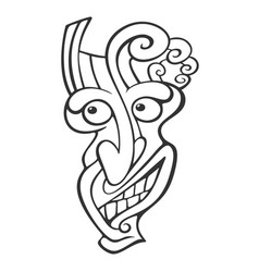 Tiki head line art vector