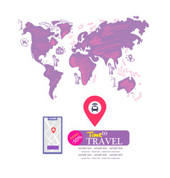 Travel vacation concept drawn map mobile phone vector