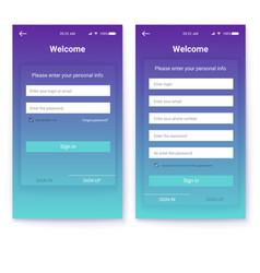 ui design account authorization or register vector image