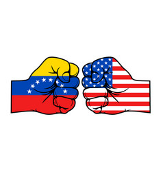 Usa and venezuela conflict with flags on fists vector
