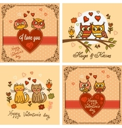 valentines greeting cards set vector image