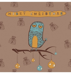 Vintage Christmas Owl Card vector
