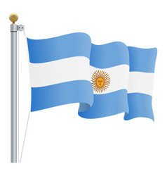 Waving argentina flag isolated on a white vector