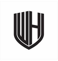 wh logo monogram with emblem shield design vector image