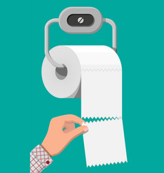 white roll toilet paper on holder vector image