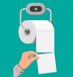 white roll toilet paper on holder vector image