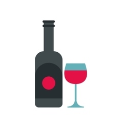 Wine and glass icon flat style vector image