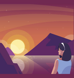 Woman contemplating horizon in lake and mountains vector