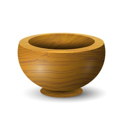 Wooden bowl on a white background vector image