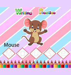 Worksheet writing practice alphabet m for mouse vector