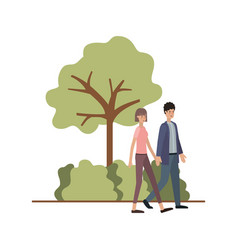 young couple in landscape avatar character vector image