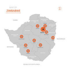 zimbabwe map with administrative divisions vector image