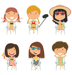Happy female characters sitting on deck chair vector