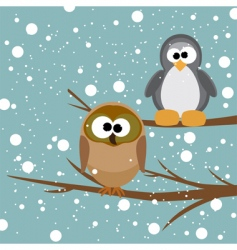 owl and penguin vector image