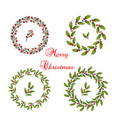 set of christmas holly wreath vector image