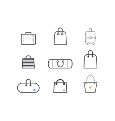 set of simple icons bags vector image vector image
