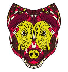 colorful dog zentangle stylized head vector image vector image