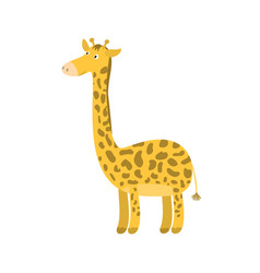 cute cartoon orange long neck smiling giraffe vector image