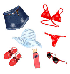 fashionable beach outfit vector image