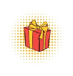 Gift box comics icon vector image