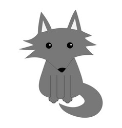 Gray wolf cute cartoon baby character icon forest vector