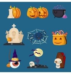 Halloween Characters Cartoon Icons Set vector image vector image